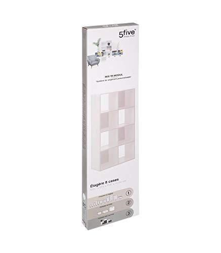 Five – Meuble Etagère de Rangement en Bois Blanc 8 Cases Mix n' modul