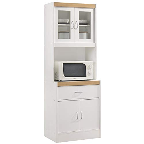 Pemberly Row Tall 24'' Wide China Kitchen Cabinet with Microwave Storage in White by Pemberly Row