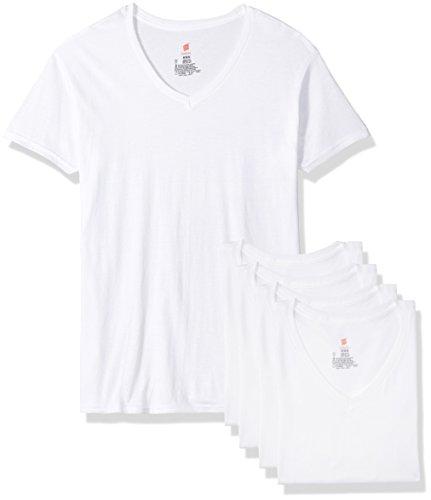 Comfort Fit V-Neck Undershirt 4-Pack, White, Medium ()