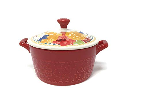 Pioneer Woman Mini Casserole with Lid - Fiona Floral Red
