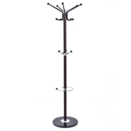 "Tangkula 67"" Coat Rack Stand with Umbrella Holder Home Entryway Jacket Hat Tree Furi Decor"