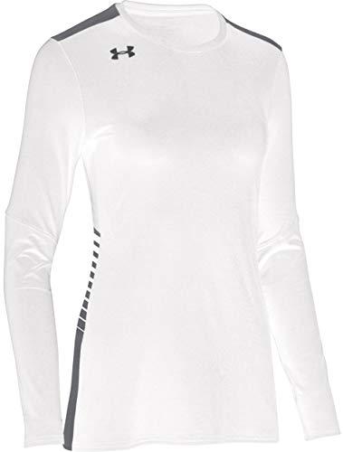 Under Armour Women's UA Endless Power Volleyball Jersey Long Sleeve Top (Medium, White)