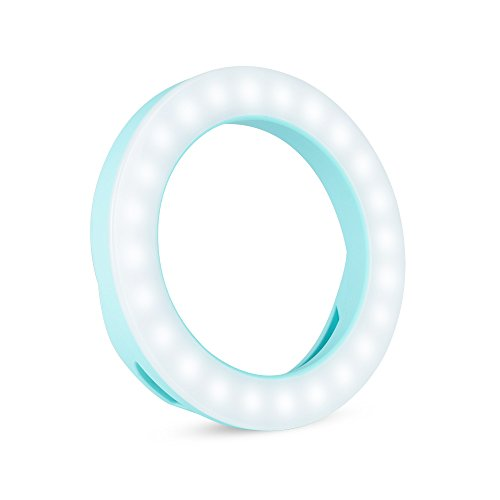 Amobios - Blue Selfie LED Ring Light Portrait Shooting 3 Level Brightness Adjusting 50% Higher Brightness for Smartphone iPhone 6 6s 7 Plus Samsung Glaxay S6 S7 Edge Note 5 by Amobios