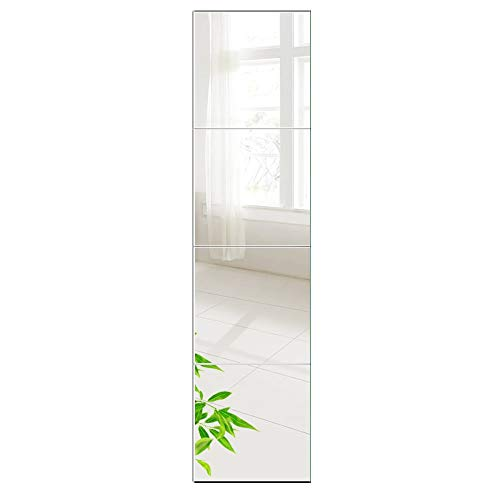 Beauty4U Full Length Tall Mirror Tiles - 12 Inch x 4Pcs Frameless Wall Mirror Set HD Vanity Make Up Mirror for Wall Décor