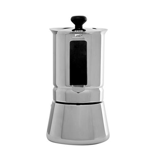 Oroley – Cafetera Italiana Arges | Acero Inoxidable | 2 Tazas | Cafetera Inducción, Vitrocerámica, Fuego y Gas | Estilo…