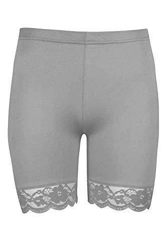Rimi Hanger Womens Scallop Lace Trim Gym Shorts Viscose Active Shorts Cycling Hot Pants Light Grey X Large