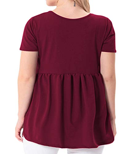 YASAKO Women's Plus Size Button Down Shirts Notch Henley V Neck Short Sleeve Pleated Flowy Blouses Casual Tunic Tops (WineRed, 3X-Large)