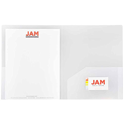 JAM Paper Heavy Duty Plastic Two Pocket Presentation Folders - Clear - 6/pack Photo #2