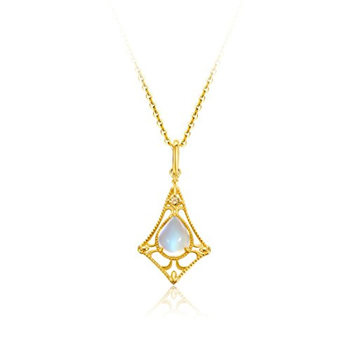 (Carleen 18k Solid Yellow Gold 1.4ct Pear Shaped Moonstone 0.05ct Yellow Sapphire Pendant Necklace for Women Girls, 16