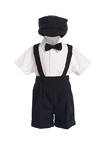 Black Special Occasion Suspenders and Short Set with Hat - M (6M - 12M)