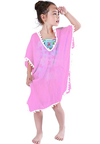 MissShorthair Fashion Girls' Cover-ups Swimsuit Wraps Beach Dress Top with Pompom Tassel (24Pink, Large size) ()