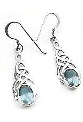 Sterling Silver Celtic Knot Blue Glass Hook Earrings