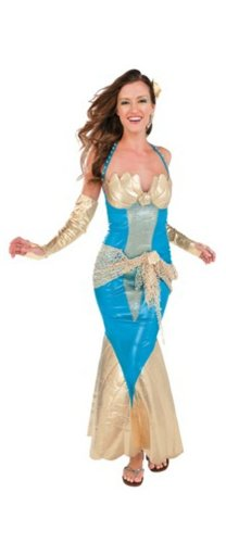 Sea Goddess Adult Costumes (Mermaid Halloween Costume (Size Small 4/6): Deluxe Sea Goddess Dress for Adult Women by Rubie's)