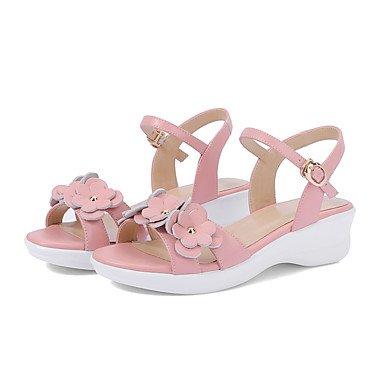 LvYuan Tacón Cuña-Zapatos del club-Sandalias-Oficina y Trabajo Vestido Fiesta y Noche-Cuero-Negro Rosa Pink