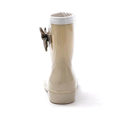 Women's Ladies Ankle Boots Wellington Rubber LvRao Middle Booties Khaki High Rain Shoes Waterproof dqnwWpWR