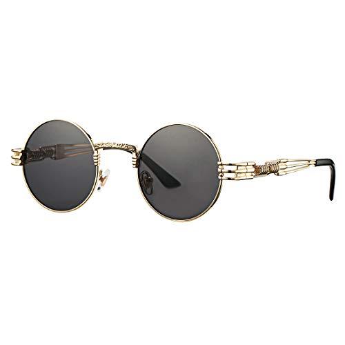COASION Vintage Round John Lennon Sunglasses Steampunk Gold Metal Frame Clear Sun Glasses (Gold Frame/Grey ()