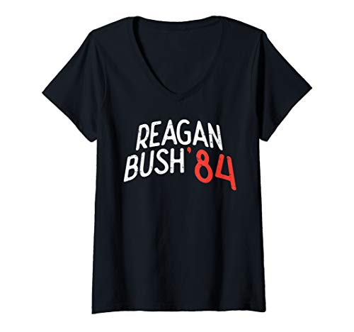 Womens Reagan Bush 84 Funny US Presidents Anti Not Trump 2020 Gift V-Neck T-Shirt
