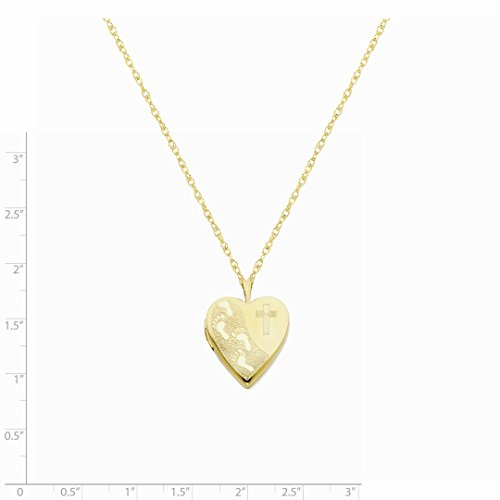 ICE CARATS 1/20 Gold Filled 20mm Cross Religious Footprint Heart Photo Pendant Charm Locket Chain Necklace That Holds Pictures W/chain Fashion Jewelry Gift Set For Women Heart by ICE CARATS (Image #6)