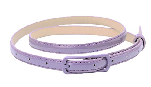 Selighting Women's Solid Color Faux Leather Skinny Belts for Dresses (One Size, Purple) ()