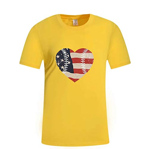 (Farmerl T-Shirt for Men Summer Printed Independence Day Loose Round Neck Tops Yellow)