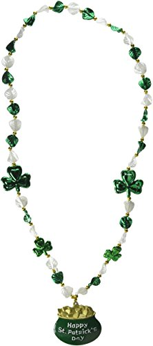 Shamrock Beads w/Pot-O-Gold Medallion Party Accessory (1 count) (1/Card)]()