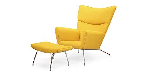 Kardiel Hans J Wegner Style Wing Chair & Ottoman, Citron Boucle Danish Wool (Wing Style Chair Wegner)