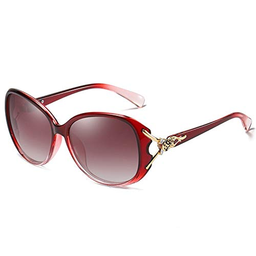 GZFENG Polarized Sunglasses Ladies classic leopard head UV protection driving sunglasses wine red