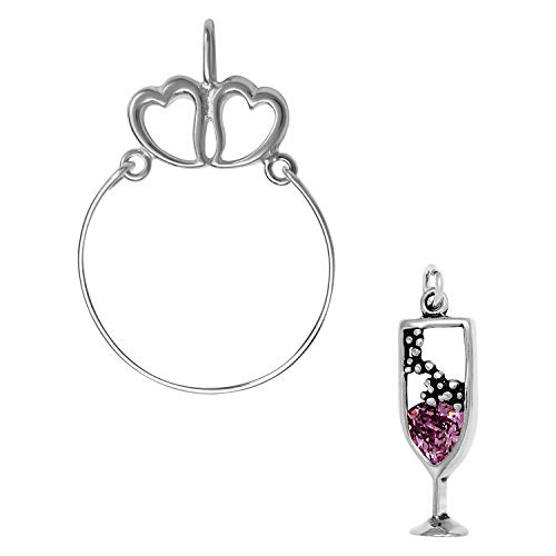 - Raposa Elegance Sterling Silver Champagne Glass Charm on a Hearts Charm Holder