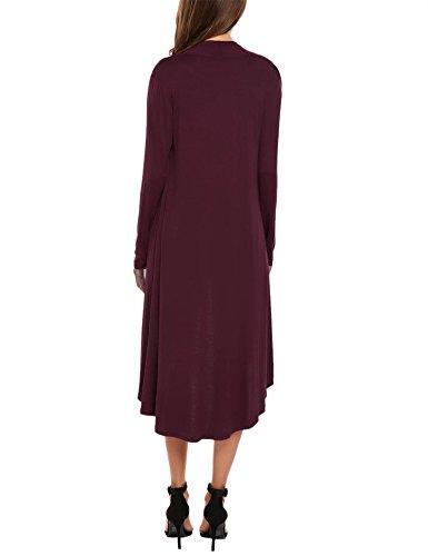 Haut Ouvert Long Cardigan Uni Casual Meaneor Gilet Longue Manche Femme Szcqvnw0g