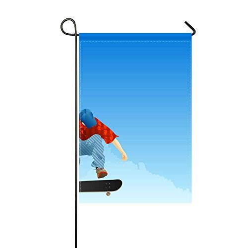 DongGan Garden Flag Boy Skateboard Jump Cap Clothing 12x18 Inches(Without - Skateboard Jump