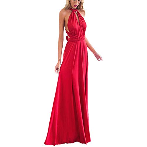 Women's Transformer Convertible Multi Way Wrap Long Prom Maxi Dress V-Neck Hight Low Wedding Bridesmaid Evening Party Grecian Dresses Boho Backless Halter Formal Cocktail Dance Gown Red Large ()