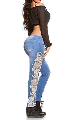 Mode Onlyoustyle Casual Pantalons Crayon Jeans Denim Femme Blanc Pantalon pissure Pants Longue Skinny Dentelle Creux qHHwU