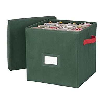 Richards Homewares Red Handles Chest Holiday Green 64 Compartment Cube Ornament Organizer