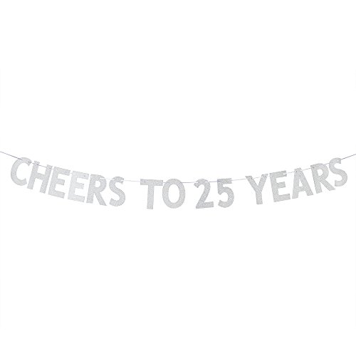 WeBenison Cheers to 25 Years Banner - Happy 25th Birthday Party Bunting Sign - 25th Wedding Anniversary Decorations Supplies - Silver