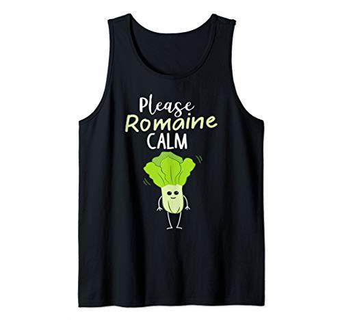 Please Romaine Calm Funny Lettuce Vegetable Pun Tank Top