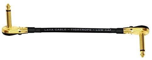Shaped Standard Bass - Lava Tightrope (Black) - 8 Inch - Guitar Bass Effects Instrument, S-Shaped Patch Cable with Premium Gold Plated ¼ Inch (6.35mm), Right Angle Pancake type TS Connectors