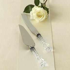 Gorham Lady Anne 2 Piece Crystal and Stainless Dessert Se...