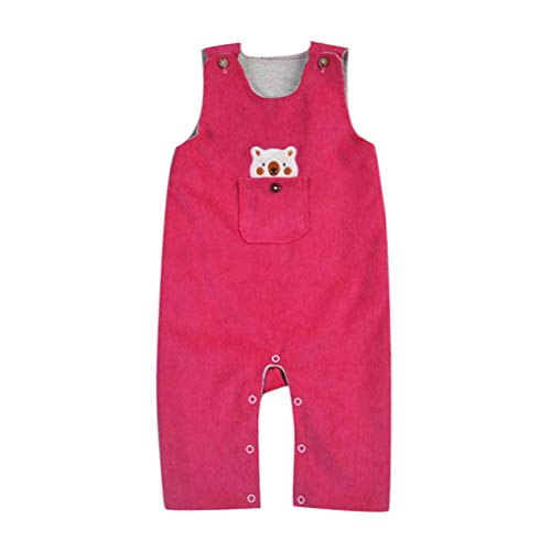LiLiMeng 2019 New Toddlers Infant Baby Kids Suspenders Sleeveless Cartoon Jumpsuit Romper Outfits Clothing with Pocket Hot Pink