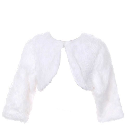 Rain Kids White Faux Fur Pearl Button Shrug Bolero Baby G...