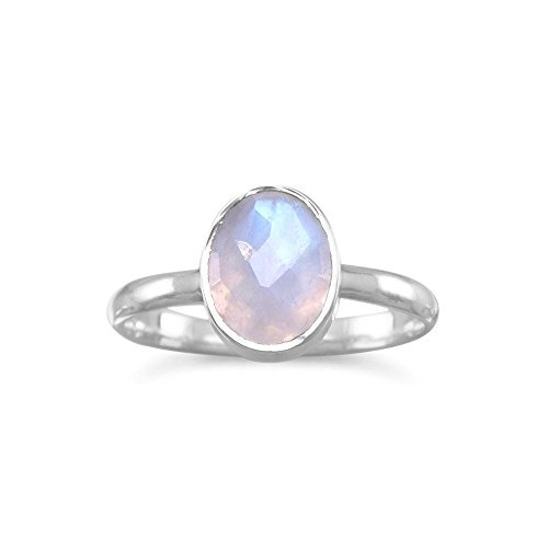 Stackable Ring Faceted Moonstone Sterling Silver, 8 (Stackable Ring Moonstone)