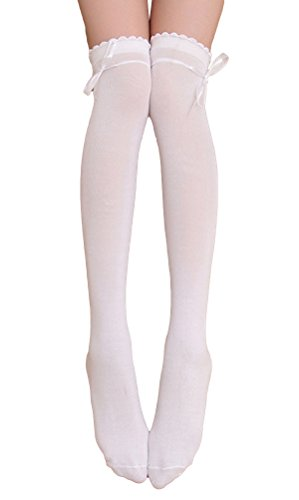 Womens Girls Thigh High Striped Cotton Socks Over Knee Stockings-White