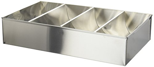 Winco SCB-4 4-Compartment Stainless Steel Cutlery Bin (Compartment Tray Four)