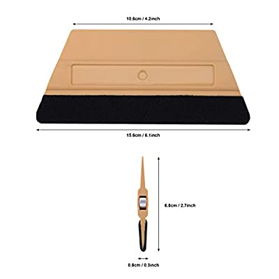 Ehdis Plastic Felt Edge Squeegee with 2 Magnets Built-in for Dry Wet Car Vinyl Film Decal Scraper Applicator, 6 Inches: Automotive