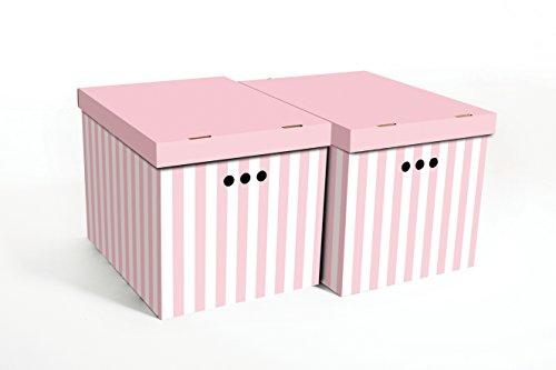 2pcs caja decorativa de cajas de almacenamiento de oficina en casa dormitorio armario organizador XL, rosa (rayas), 42x32x32: Amazon.es: Hogar
