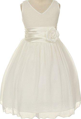 AkiDress Asymmetric Ruffles Satin Flower Girls Dress Pageant Wedding Prom (Ivory Flower Shirt)