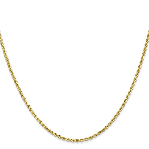 14k Yellow Gold 1.7mm Regular Rope Chain Bracelet Anklet 10'' by Venture Jewelers