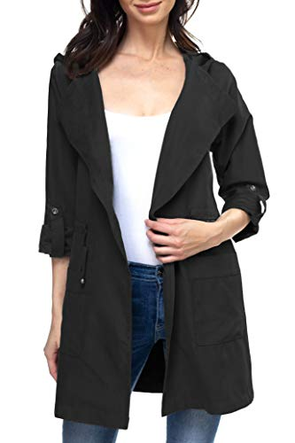 Urban Look Women's Lightweight Hooded Trench Jacket (Small, Black)