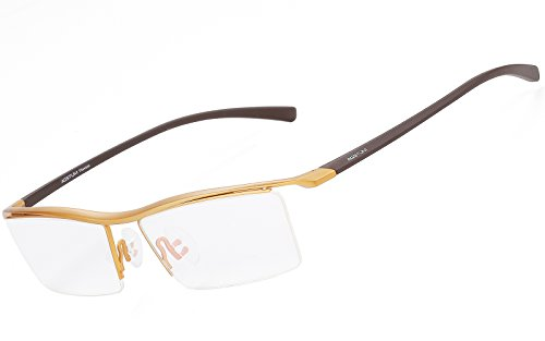 Agstum Pure Titanium Half Rimless Business Glasses Frame Optical Eyeglasses Clear Lens (Gold)