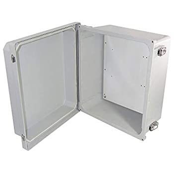 Image of Altelix 14x12x8 FRP Fiberglass NEMA 4X Box Weatherproof Enclosure with Aluminum Equipment Mounting Plate, Hinged Lid & Stainless Steel Latches Home Improvements
