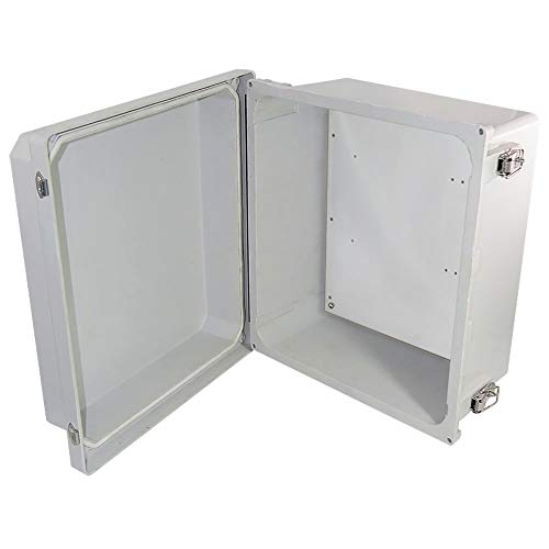Altelix 14x12x8 FRP Fiberglass NEMA 4X Box Weatherproof Enclosure with Aluminum Equipment Mounting Plate, Hinged Lid & Stainless Steel Latches